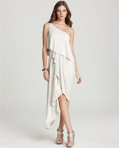BCBG Max Azria Katrina One Shoulder Asymmetrical Dress