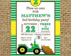 Tractor and Dirt Bulldozer Green and Yellow Stripes Birthday Party, Baby Shower, etc Invitation - John Deere Tractor Party Invitation