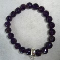 :-) Beaded Amethyst bracelet with authentic Thomas Sabo Charm Holder for sale :-) HappyFace313 :-)
