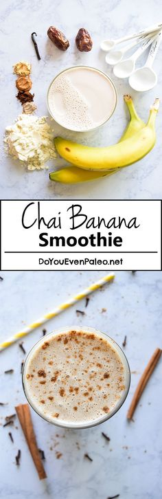 Chai Banana Smoothie (omit the protein powder for Smoothies Banane, Smoothie Proteine, Apple Smoothies, Healthy Smoothies, Healthy Drinks, Smoothie Recipes, Healthy Snacks, Healthy Protein, Homemade Smoothies