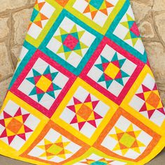 Color can bring a quilt to life! The GO! Vibrant Ohio Star Quilt uses bright, bright, bright fabric free pattern :)