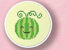 Happy Watermelon. Fruit Cross Stitch PDF Pattern. $3.00, via Etsy.