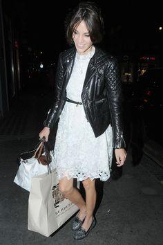 Alexa Chung - white lace dress, loafers and biker jacket