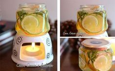 it was in Spanish and didn't know what it said . But I'm sure that's lemon,water, thyme or something like it Sha Perfume, Cuisines Design, Diy Candles, Home Hacks, Diy Beauty, Cleaning Hacks, Diy Home Decor, Diy And Crafts, Sweet Home