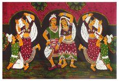 Rajasthani Folk Dancers (Batik Painting on Cotton Cloth - Unframed)