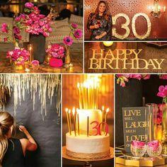 30 лет день рождения юбилей в стиле шик розовый и золотой