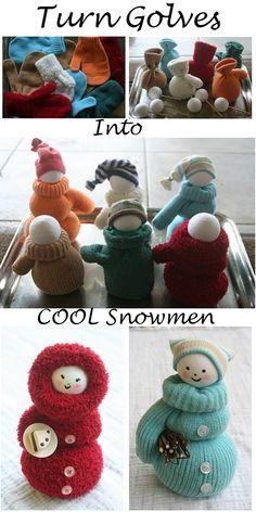 Turn Golves Into Cool Snowmen Follow Us on Tumblr