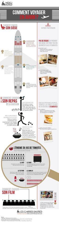 Bien choisir sa place, son repas et ses boissons en avion... #infographics