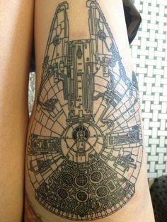 millennium falcon blueprint as a tattoo Nerdy Tattoos, Badass Tattoos, Love Tattoos, Beautiful Tattoos, Girl Tattoos, Tatoo Art, Get A Tattoo, Millennium Falcon Blueprint, Millenium Falcon