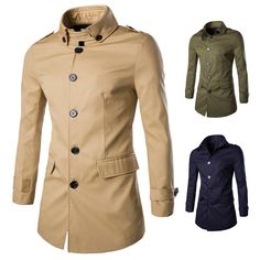 Sale 13% (49.58$) - Spring Autumn Classic Turn-down Collar Windbreaker Mens Fashion Thin Long Trench Coat
