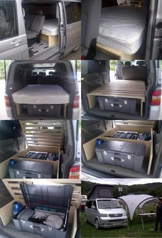 Vw T5, Vw Transporter Camper, Mini Camper, Bus Camper, Camper Trailers, Suv Camping, Camping Hacks, Caravelle T4, Accessoires Camping Car