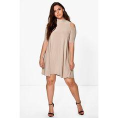 Boohoo Plus Plus Jen Highneck Swing Dress ($26) ❤ liked on Polyvore featuring dresses, camel, maxi dress, sequin maxi dress, white tuxedo, white slip dress and white swing dress