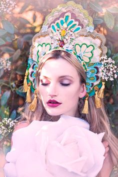 Green & Gold 'Papillio' Couture Colourful Headdress by livfreecreations