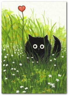 Original ACEO Painting  Black Cat Kitten Valentine by AmyLynBihrle. , via Etsy.