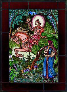 Baba Yaga, Wassilissa stained glass, gebrandschilderd glas in lood, Russian fairie tales, Russische sprookjes, rode ridder, Wassilissa