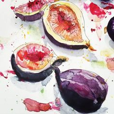 Watercolor fruit, fruit painting, watercolor journal, watercolor pattern, p Watercolor Fruit, Watercolor Journal, Fruit Painting, Watercolor Pattern, Watercolor Flowers, Watercolor Paintings, Purple Painting, Fig Drawing, Vegetable Drawing