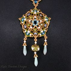 Hey, I found this really awesome Etsy listing at https://www.etsy.com/listing/105348741/tudor-pendant-beadweaving-gold-and-green