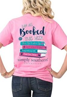 32061f0034a5ea Simply Southern Preppy Collection Booked T-shirt for Women in Flamingo  PREPPYBOOKED-FLAMINGO Simply