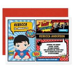 Shop Superhero Birthday Party Comics Superheroes Invitation created by BlueBunnyStudio. 1st Birthday Invitations Boy, Boy First Birthday, 1st Birthday Parties, Baby Shower Invitations, Invites, Superhero Baby Shower, Superhero Party, Pop Art Party, Comic Book Superheroes