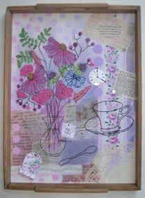 """Mad Tea Party Series 2011/2012 """"What Splendid Tea Tray"""" Textiles, mixed media, vintage treasures, machine & hand stitch framed in a vintage tea tray."""