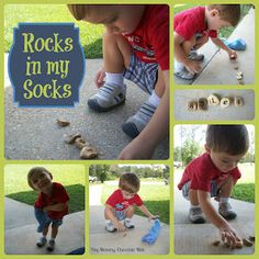 Hey Mommy, Chocolate Milk: Rocks in my Socks for letter and name recognition - I tried it using alphabet stickers coated in Mod Podge (equal parts water and Elmer's brand glue) and they turned out so very adorable! Quick, east peasy, next to free & educational to ice the cake... Does it get any better?