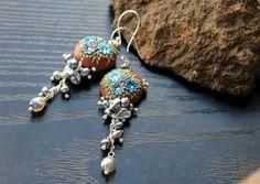 Mystic Labradorite earrings with peacock freshwater by Peelirohini