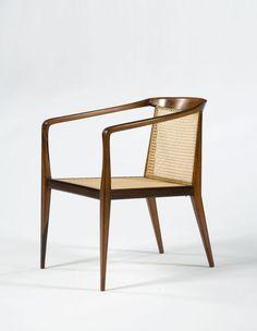 John Graz; caviona and cane lounge armchair, 1960s.
