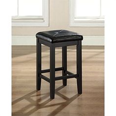 Upholstered Square Seat Backless Counter Stool - 24 in. - Set of 2