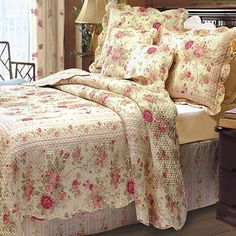 Romantic Chic Shabby Cottage Roses 100 percent Cotton Quilt and Shams Set with Decorative Pillows . The cozy French Country bedding set features Scalloped Edges and is Reversible to a Petite Roses pattern. Made of 100% Cotton cover and fill.