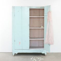 Vintage Tall Turquoise Cabinet l Rachel Ashwell Shabby Chic Couture l Shabby Chic