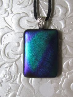 Dichroic Pendant Fused Glass Pendant Blue Green by feesfusions