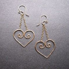 Nouveau 88 Hammered heart earrings by CalicoJunoJewelry on Etsy, $48.00