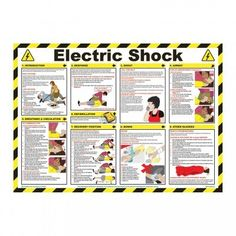 Electric Shock Wallchart Posters - Workwear, Personal Protection & First Aid Emergency First Aid, Emergency Preparation, Emergency Medicine, Emergency Kits, Survival Life Hacks, Survival Prepping, Survival Skills, Survival Mode, Electric Shock First Aid