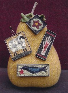 Primitive Folk Art Punchneedle Pattern:  FOLK ART SAMPLER -- Four mini Pin Designs -  Pre-printed fabric included. $11.50, via Etsy.