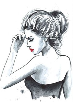 Drucken von Original Aquarell Fashion Illustration moderne Kunst Malerei tittled Au Revoir