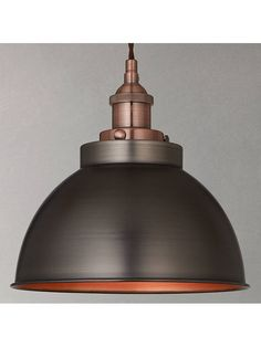Buy Pewter/Copper John Lewis & Partners Baldwin Pendant Ceiling Light from our Ceiling Lighting range at John Lewis & Partners. Industrial Light Fixtures, Industrial Pendant Lights, Ceiling Light Fixtures, Pendant Light Fixtures, Dining Room Ceiling Lights, Vintage Industrial Lighting, Hanging Ceiling Lights, Industrial Bedroom, Ceiling Pendant