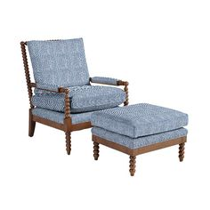 Our Shiloh Spool Chair and Ottoman offers deep seat comfort framed with rich vintage texture. Hardwood frame features thick poly-foam seat and back for comfort. Ottoman In Living Room, Chair And Ottoman, Spool Chair, Blue And White Fabric, Engineered Hardwood, Ballard Designs, Chair Fabric, Guest Bedrooms, Furniture Projects