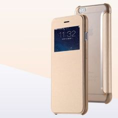 6,66€ - Champagner farbene Luxus-Handytasche-iPhone-5C-5S-6-6-Plus-Flip-Case-Schutzhuelle-Handyhülle-Cover