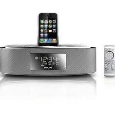 Philips DC290/37 30-Pin iPod/iPhone Alarm Clock Speaker Dock (Brushed... (93 AUD) ❤ liked on Polyvore featuring electronics