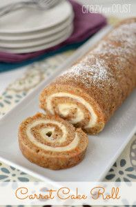 Carrot Cake Roll  and instructions on HOW TO ROLL A CAKE @Crazy for Crust