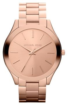 Women's Michael Kors 'Slim Runway' Bracelet Watch, from Nordstrom. Shop more products from Nordstrom on Wanelo. Outlet Michael Kors, Handbags Michael Kors, Michael Kors Watch, Mk Handbags, Designer Handbags, Bad Michael, Couleur Or Rose, Mk Watch, Rose Watch