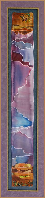 Frame clothing like a work of art! This painted scarf is preserved with bronze and gold frames on colorful suede mat boards.   Designed and framed at Art & Frame Express in Edison, NJ