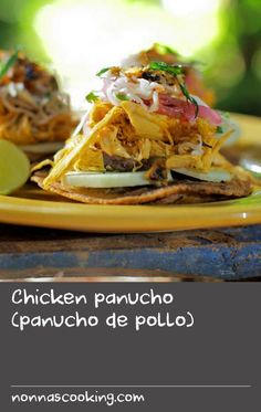 Chicken panucho (panucho de pollo) | The panucho is one of the most loved Mexican street foods of the Yucatan peninsula, with its crispy base, smooth black bean paste, fresh salad and brightly flavoured pickles. Traditionally topped with shredded turkey, this panucho recipe uses chicken treated by an achiote and chocolate spice mix, adding even more dimension to the dish. The preparation method for the chicken also leaves you with a few litres of great chicken broth you can use in another… Chicken Broth Recipes, Yummy Pasta Recipes, Dishes Recipes, Oven Recipes, Spicy Recipes, Turkey Recipes, Mexican Food Recipes, Cooking Recipes, Oven Chicken