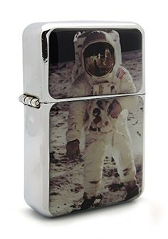 Astronaut Moon Space Flip Top Refillable Aluminum Pocket Oil Petrol Lighter ** Read more reviews of the product by visiting the link on the image.