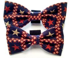Red Beige and Blue Stars Bow Tie  Collar accessory by HalasPaws, $7.99