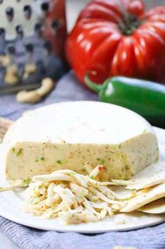 DIY Vegan Pepper Jack Cheese in 5 min or less. Seriously the best VEGAN cheese you've ever had! Best Vegan Cheese, Vegan Cheese Recipes, Vegan Sauces, Vegan Foods, Vegan Dishes, Raw Food Recipes, Veggie Recipes, Vegetarian Recipes, Healthy Recipes