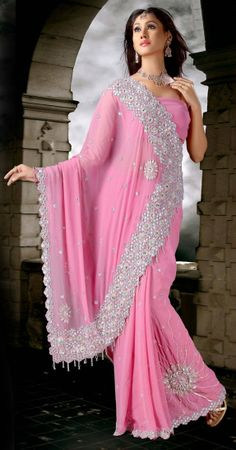Light Pink Colored Saree  Check out this page now :-http://www.ethnicwholesaler.com/sarees-saris