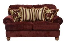 "Belmont Collection 4347-02 2663-09/2666-43 71"" Loveseat with Chenille Fabric Upholstery Reversible Box Welted Seat Cushions and Four Pillows in Mahogany"