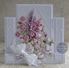 """Hello everyone, DT samples for Tattered Lace """"Raspberry Roses Collection"""" Launching on Create and Craft TV. Fancy Fold Cards, Folded Cards, Wedding Anniversary Cards, Wedding Cards, Create And Craft Tv, Stepper Cards, Tattered Lace Cards, Shabby Chic Cards, Handmade Gift Tags"""