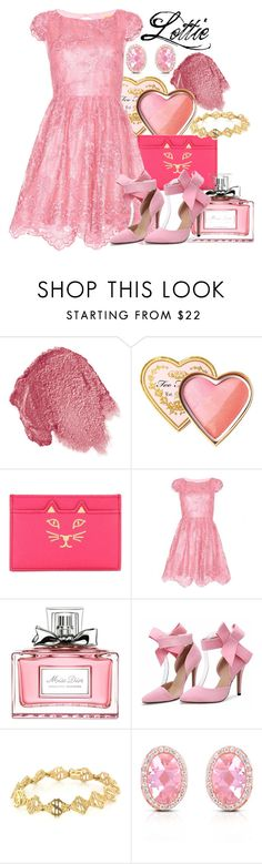 """Charlotte La Bouff"" by danacu ❤ liked on Polyvore featuring Lipstick Queen, Too Faced Cosmetics, Charlotte Olympia, Alice + Olivia, Christian Dior, Vintage, Collette Z, lottie, PrincessAndTheFrog and charlottelabouff"